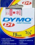 Dymo tape D1 45805 rød på hvit 19mm