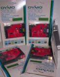 DYMO 3000 TAPE CASSETTE 12mm 30137 sort på rød