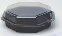 Plastbeger 160x160x60mm m lokk sort(405)