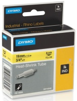 Tape Dymo kabelmerking 19mmx1,5m sort/gul 18058 krympestrømpe