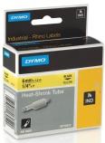 Tape Dymo kabelmerking 6mmx1,5m sort/gul 18052 krympestrømpe