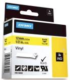 Tape Dymo Rhino 12mmx5,5m sort/gul vinyl 18432