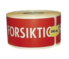 Etikett 'Forsiktig' Sk 58x119mm. 500stk ETIKETT1