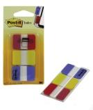 POST-IT® Index Strong rød/gul/blå (3x22) 25x43mm. 70071501525