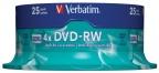 DVD-RW Verbatim Spindel (25) 4,7gb 4x 43639